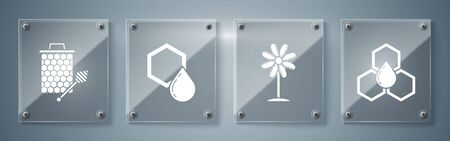Set Honeycomb, Flower, Honeycomb and Honeycomb with honey dipper stickicon. Square glass panels. Vector