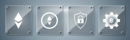 Set Cryptocurrency coin Bitcoin, Shield security with lock, Cryptocurrency coin Ethereum ETH and Cryptocurrency coin Ethereum ETH. Square glass panels. Vector