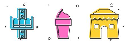 Set Attraction carousel, Ice cream in waffle cone and Circus tent icon. Vector