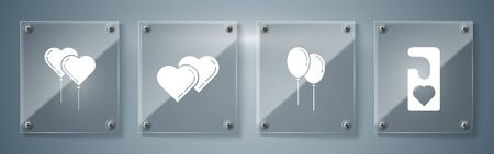 Set Please do not disturb with heart, Balloons with ribbon, Two Linked Hearts and Balloons in form of heart with ribbon. Square glass panels. Vector Ilustrace