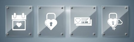 Set Castle in the shape of a heart and key, Ticket with heart, Castle in the shape of a heart and Calendar with heart. Square glass panels. Vector Ilustracja