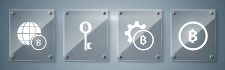 Set Cryptocurrency coin Bitcoin, Cryptocurrency coin Bitcoin, Cryptocurrency Bitcoin key and Globe and cryptocurrency coin Bitcoin. Square glass panels. Vector