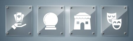 Set Comedy theatrical masks, Circus tent, Magic ball and Hand holding playing cards. Square glass panels. Vector