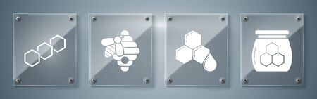 Set Jar of honey, Honeycomb, Hive for bees and Honeycomb. Square glass panels. Vector
