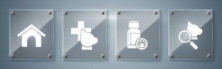 Set Veterinary clinic symbol, Dog medicine bottle, Veterinary clinic symbol and Dog house. Square glass panels. Vector