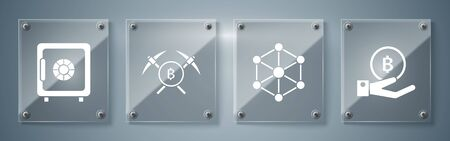 Set Hand holding Bitcoin, Blockchain technology, Crossed pickaxe and Safe. Square glass panels. Vector