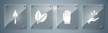 Set Plant in hand of environmental protection, Garden gloves, Leafs and Garden trowel spade or shovel. Square glass panels. Vector Reklamní fotografie - 138113949