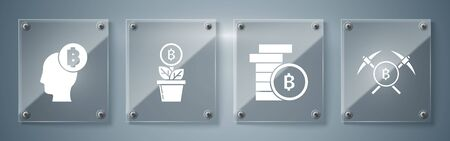 Set Crossed pickaxe, Cryptocurrency coin Bitcoin, Bitcoin plant in the pot and Bitcoin think. Square glass panels. Vector