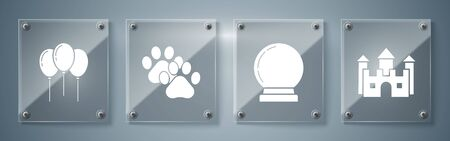Set Castle, Magic ball, Paw print and Balloons with ribbon. Square glass panels. Vector