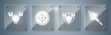 Set Hipster arrow tip, Hunt on moose with crosshairs, Target sport for shooting competition and Moose head with horns. Square glass panels. Vector