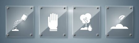 Set Sprout, Watering Tree, Garden gloves and Watering can with water. Square glass panels. Vector