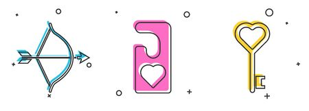 Set Bow and arrow, Please do not disturb with heart and Key in heart shape icon. Vector