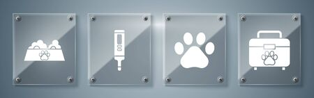 Set Pet first aid kit, Paw print, Medical digital thermometer and Pet food bowl for cat or dog. Square glass panels. Vector