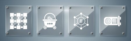 Set Mining farm, Blockchain technology Bitcoin, Shopping basket with bitcoin and Blockchain technology. Square glass panels. Vector
