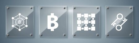 Set Cryptocurrency key, Blockchain technology, Cryptocurrency coin Bitcoin and Blockchain technology Bitcoin. Square glass panels. Vector Çizim