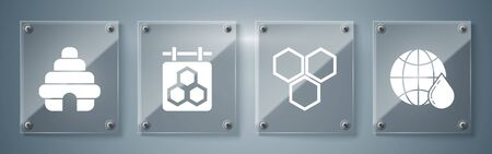 Set Honeycomb map of the world, Honeycomb, Hanging sign with honeycomb and Hive for bees. Square glass panels. Vector Ilustração
