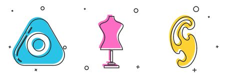 Set Sewing chalk, Mannequin and French curves icon. Vector Ilustração