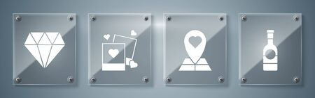 Set Champagne bottle, Map pointer with heart, Two blanks photo frames and hearts and Diamond. Square glass panels. Vector