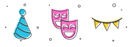 Set Party hat, Comedy theatrical masks and Carnival garland with flags icon. Vector