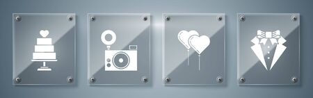 Set Suit, Balloons in form of heart with ribbon, Photo camera and Wedding cake with heart. Square glass panels. Vector Ilustração