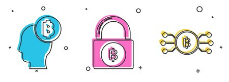Set Bitcoin think, Lock with bitcoin and Cryptocurrency bitcoin in circle with microchip circuit icon. Vector Çizim