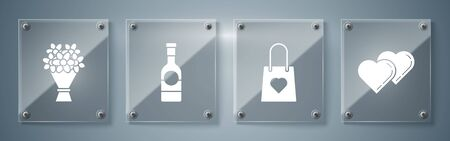 Set Two Linked Hearts, Shopping bag with heart, Champagne bottle and Bouquet of flowers. Square glass panels. Vector