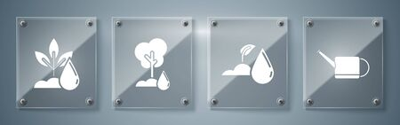 Set Watering can, Watering sprout, Watering Tree and Watering plant. Square glass panels. Vector