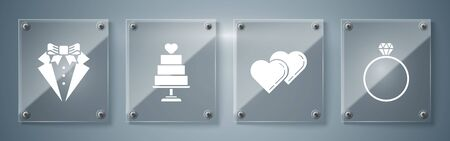 Set Diamond engagement ring, Two Linked Hearts, Wedding cake with heart and Suit. Square glass panels. Vector