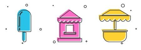 Set Ice cream, Ticket box office and Attraction carousel icon. Vector