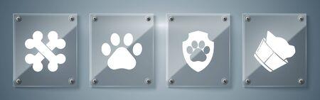 Set Veterinary clinic symbol, Animal health insurance, Paw print and Crossed bones. Square glass panels. Vector