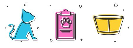Set Cat, Clipboard with medical clinical record pet and Protective cone collar icon. Vector