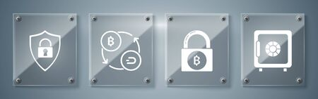 Set Safe, Lock with bitcoin, Cryptocurrency exchange and Shield security with lock. Square glass panels. Vector