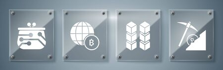 Set Cryptocurrency cloud mining, Blockchain technology, Globe and cryptocurrency coin Bitcoin and Cryptocurrency wallet. Square glass panels. Vector Çizim