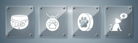 Set Veterinary clinic symbol, Paw print, Collar with name tag and Aquarium with fish. Square glass panels. Vector