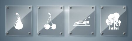 Set Trees, Lawn mower, Cherry and Pear. Square glass panels. Vector Ilustrace