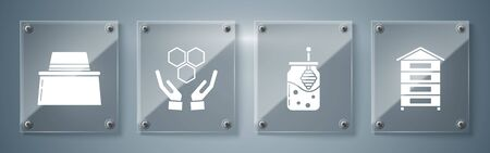 Set Hive for bees, Jar of honey and honey dipper stick, Honeycomb and hands and Beekeeper with protect hat. Square glass panels. Vector Ilustracja