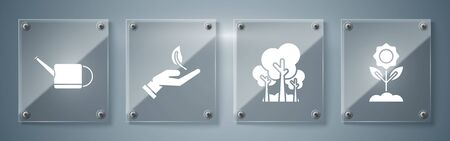 Set Flower, Trees, Sprout in hand of environmental protection and Watering can. Square glass panels. Vector