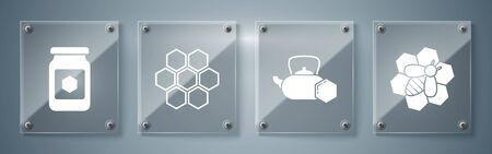 Set Bee and honeycomb, Tea kettle with honey, Honeycomb and Jar of honey. Square glass panels. Vector