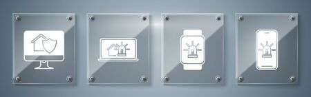 Set Mobile phone with smart house and alarm, Smart watch with smart house and alarm, Laptop with smart house and alarm and Computer monitor with house under protection. Square glass panels. Vector