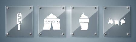 Set Carnival garland with flags, Ice cream in waffle cone, Circus tent and Corn dog. Square glass panels. Vector