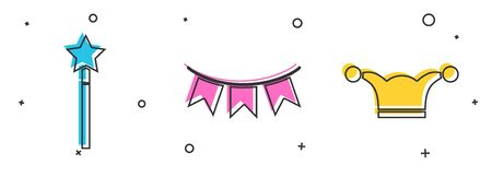 Set Magic wand, Carnival garland with flags and Jester hat with bells icon. Vector Ilustração