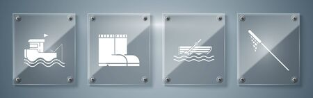 Set Fishing net, Fishing boat with oars on water, Fishing boots and boat with rod. Square glass panels. Vector Ilustracja