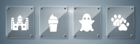 Set Paw print, Ghost, Ice cream in waffle cone and Castle. Square glass panels. Vector Ilustrace