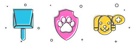 Set Dustpan, Animal health insurance and Veterinary clinic symbol icon. Vector