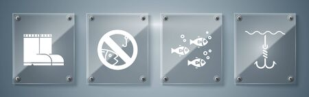 Set Fishing hook under water, Fish, No fishing and Fishing boots. Square glass panels. Vector Ilustracja