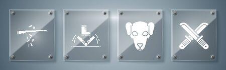 Set Crossed hunter knife, Hunting dog, Trap hunting and Gun shooting. Square glass panels. Vector Çizim
