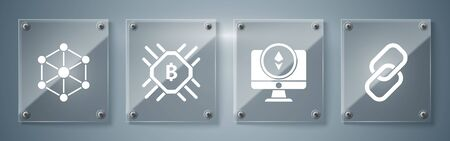 Set Chain link, Monitor and Cryptocurrency coin Ethereum ETH, CPU mining farm and Blockchain technology. Square glass panels. Vector