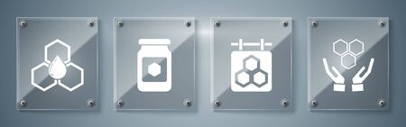 Set Honeycomb and hands, Hanging sign with honeycomb, Jar of honey and Honeycomb. Square glass panels. Vector