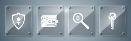 Set Cryptocurrency key, Magnifying glass with Bitcoin, Cryptocurrency wallet and Shield Ethereum ETH. Square glass panels. Vector