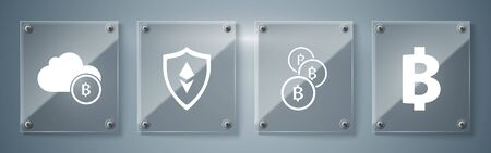 Set Cryptocurrency coin Bitcoin, Cryptocurrency coin Bitcoin, Shield Ethereum ETH and Cryptocurrency cloud mining. Square glass panels. Vector